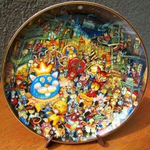 """Franklin Mint Plate """"Meowdi Gras"""" by Bill Bell"""