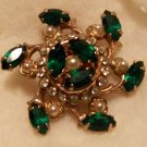 Vintage Pearl Pin with Green Garnets