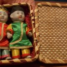 Set of Vintage Japanese Bisque Mini Dolls with Case
