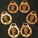 Set of 6 Horse Brasses (King George V, Vintage)
