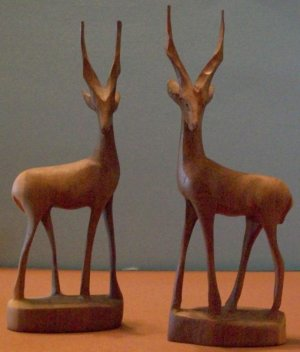 2 Hand Carved Antelope By Genuine Besmo (Kenya)