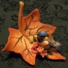Capodimonte Blue Bird on a Maple leaf