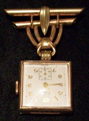 Vintage Rima 17 Jewel Nurses Watch Pin (12kt)