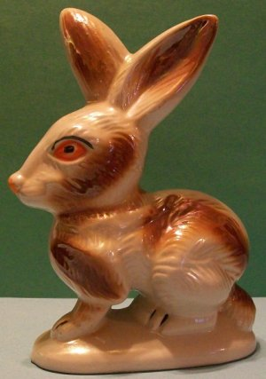 Vintage Porcelain Rabbit Statue (Lusterware, Brazil)
