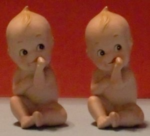 Set of 2 Lefton Kewpie Piano Babies (Bisque)