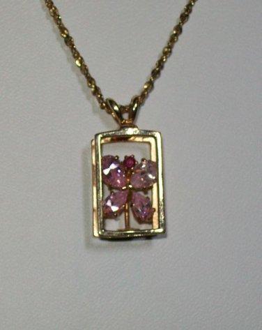 Monet Goldtone/Rhinestone Butterfly Pendant Necklace