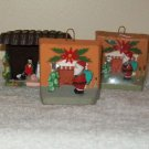 Set of 3 Miniature Mangers with 2 Miniature Tree Ornaments (Vintage)