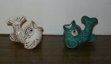 Set of Two Small Vintage Porcelain Fish