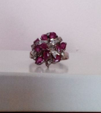 Synthetic Ruby Ring with Cubic Zirconias (Ladies)