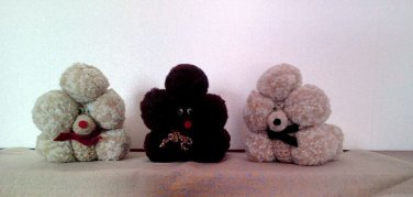 1970s Crocheted Stuffed Poodles (set of 3)