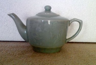 Chinese Porcelain Teapot (Green with Koi Fish/Water Engraving, 1990s)