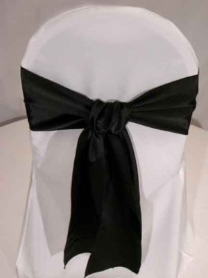 Black Satin Wedding Chair Sashes