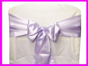 Lavender Satin Chair Sash Bow