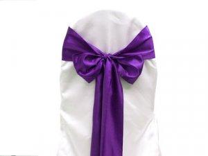 Purple Satin Chair Sash Bows