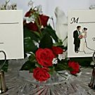 Silver Heart/Bell Place Card Holder with Bride and Groom Place Card