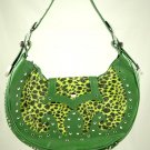 Far Nine green Leopard Faux Fur Bag