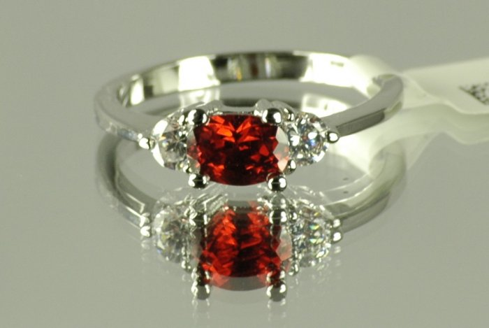 Fashion Ring with Garnet Red & Clear Cubic Zirconia, size 8