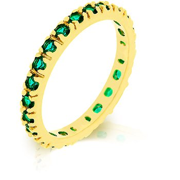 Fashion Ring with emerald green cubic zirconia in goldtone, size 8