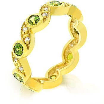 Fashion Ring with olive green cubic zirconia in goldtone, size 8