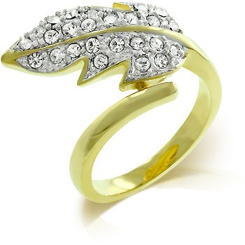 Golden Leaf Fashion ring with crystals, size 8