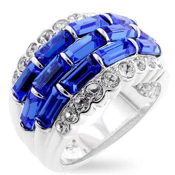 Cubic Zirconia Fashion Ring in Blue/Aqua, size 8