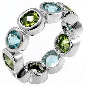 Aqua and olive colored fashion ring with cubic zirconia, size 8