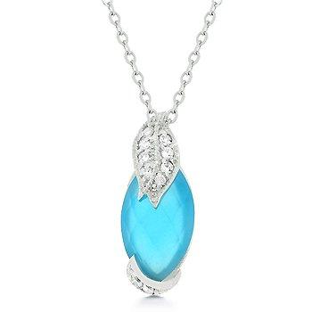 Necklace/Chain with blue/aqua CZ pendant
