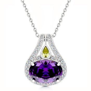 Purple and peridot/olive CZ fashion pendant