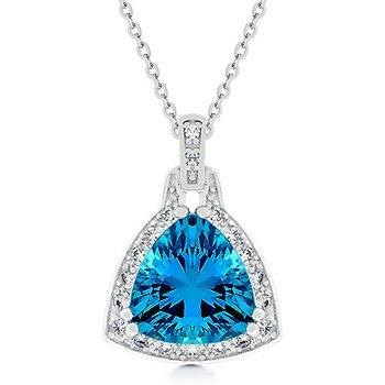 Fashion triangle Pendant with Aqua Blue Cubic Zirconia in silvertone