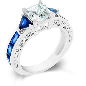 Cubic Zirconia Fashion Ring in light Blue, size 8