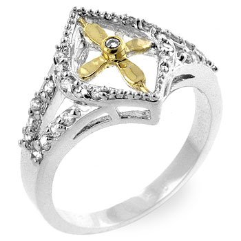 Propeller Crest Fashion Ring with clear Cubic Zirconia in 2 tones, size 7
