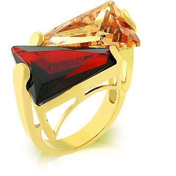 Cubic Zirconia Fashion Ring in red & champagne, size 8