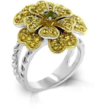 Cubic Zirconia Floral Fashion Ring in yellow & olive, size 8