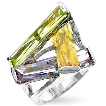 Cubic Zirconia Fashion Ring in yellow, olive & purple, size 9