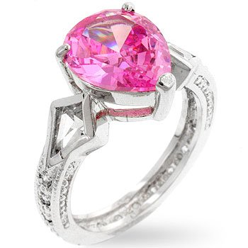Drop shaped silver ring with pink and clear cubic zirconia in silvertone, size 8