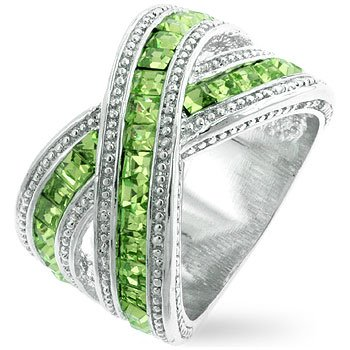 Fashion Ring with Green Olive Cubic Zirconia in silvertone, size 8