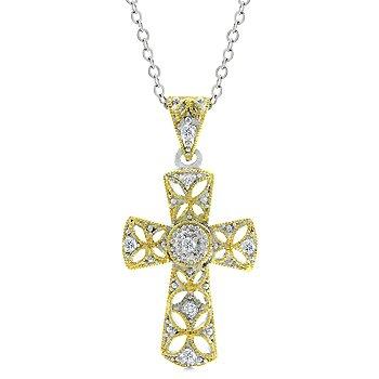 2 tone clear cubic zirconia cross fashion pendant