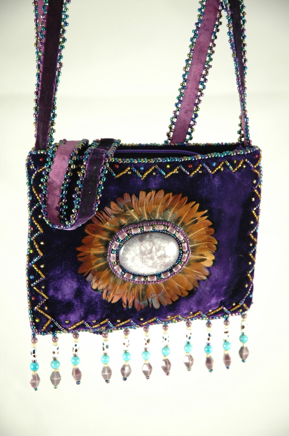 Handmade Purple 100% silk velvet purse, cross body bag