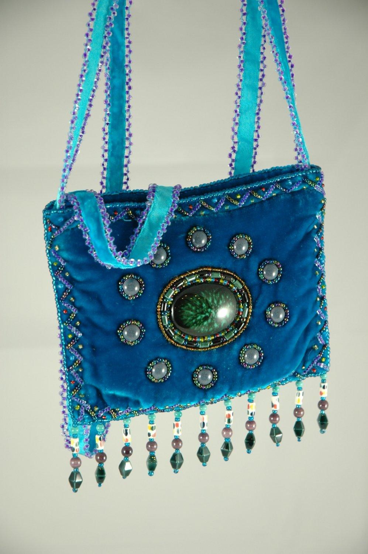 Handmade Turquoise 100% silk velvet purse, cross body bag