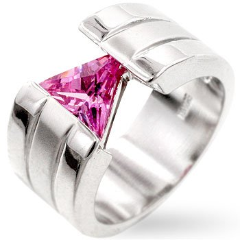 Fashion ring with pink cubic zirconia in silvertone, size 8