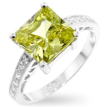 Silver Fashion ring with peridot/green cubic zirconia, size 8