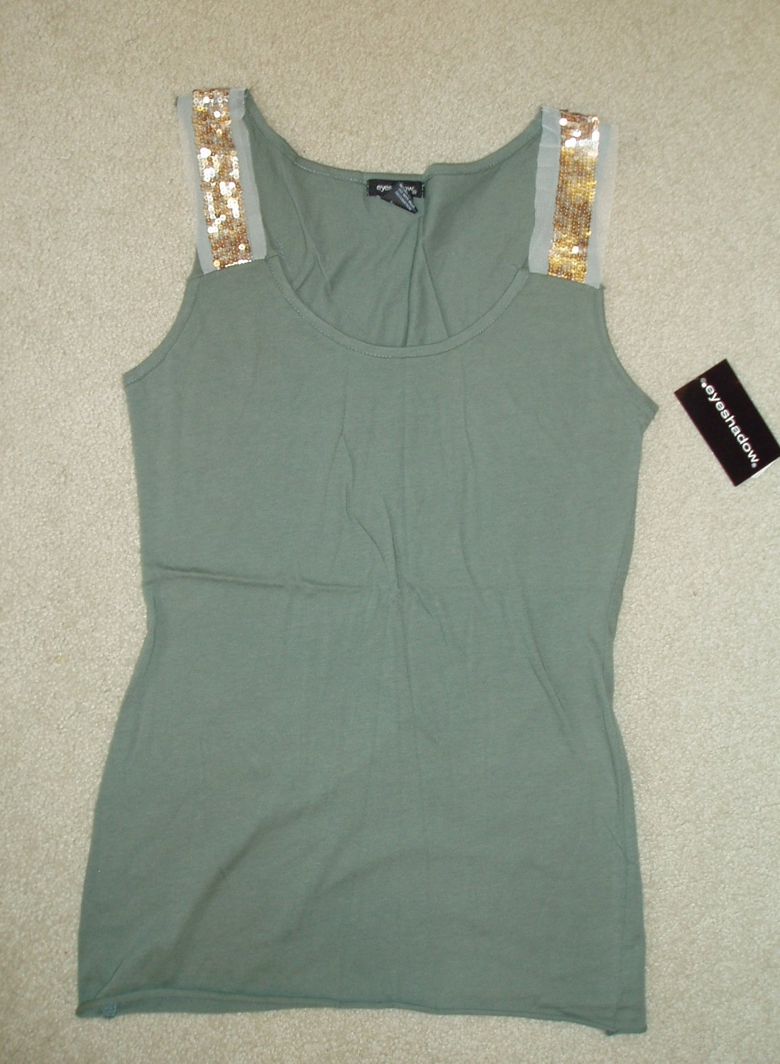 Junior, women's green tank top, size Large, L