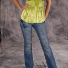 Womens top with straps in lime green color, size Large, L