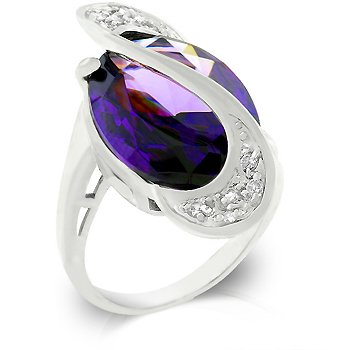 Fashion ring in silvertone finish with clear and purple cubic zirconia, size 8