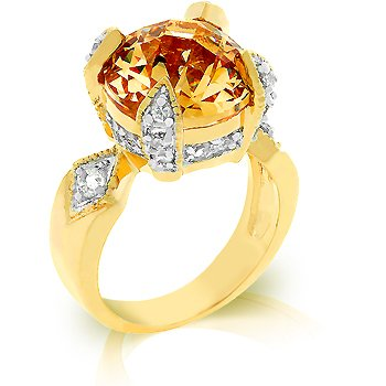 Gorgeous regal fashion ring with champagne and clear cubic zirconia, size 8