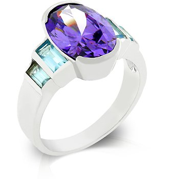 Cubic Zirconia Fashion Ring in Blue & Purple, size 8