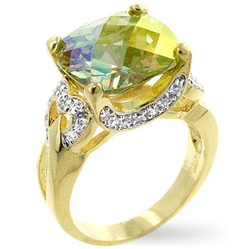 Fashion ring in gold tone with clear and green/mystic Cubic Zirconia, size 8