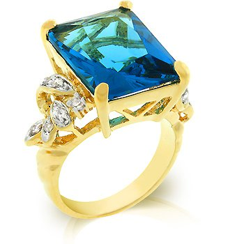 Fashion ring in goldtone with blue and clear cubic zirconia, size 8