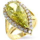 Fashion Ring in gold tone with clear and olive green cubic zirconia, size 8