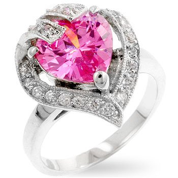 Fashion ring with pink and clear cubic zirconia, heart shaped, size 8